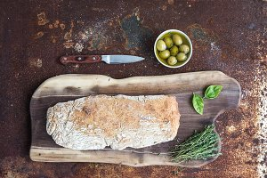 Homemade ciabatta bread with olives