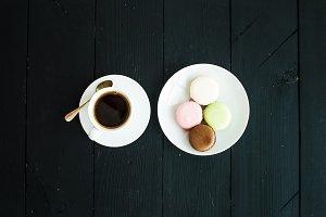 Macaron cookies & cup of espresso