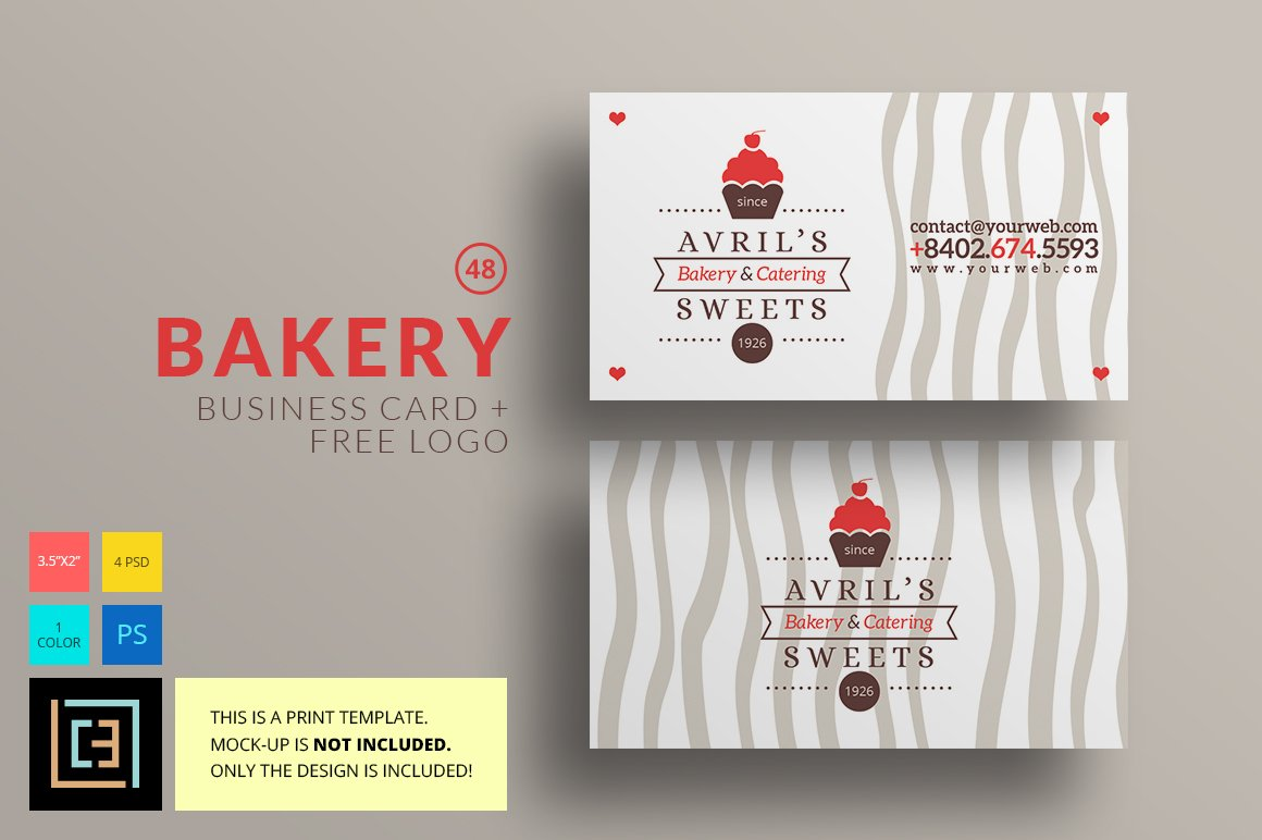 bakery business card 48 logo business card templates creative market. Black Bedroom Furniture Sets. Home Design Ideas
