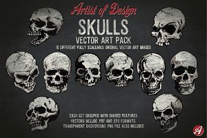 Vector Clip Art Skulls Pack