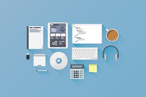 Web development flat vector icons