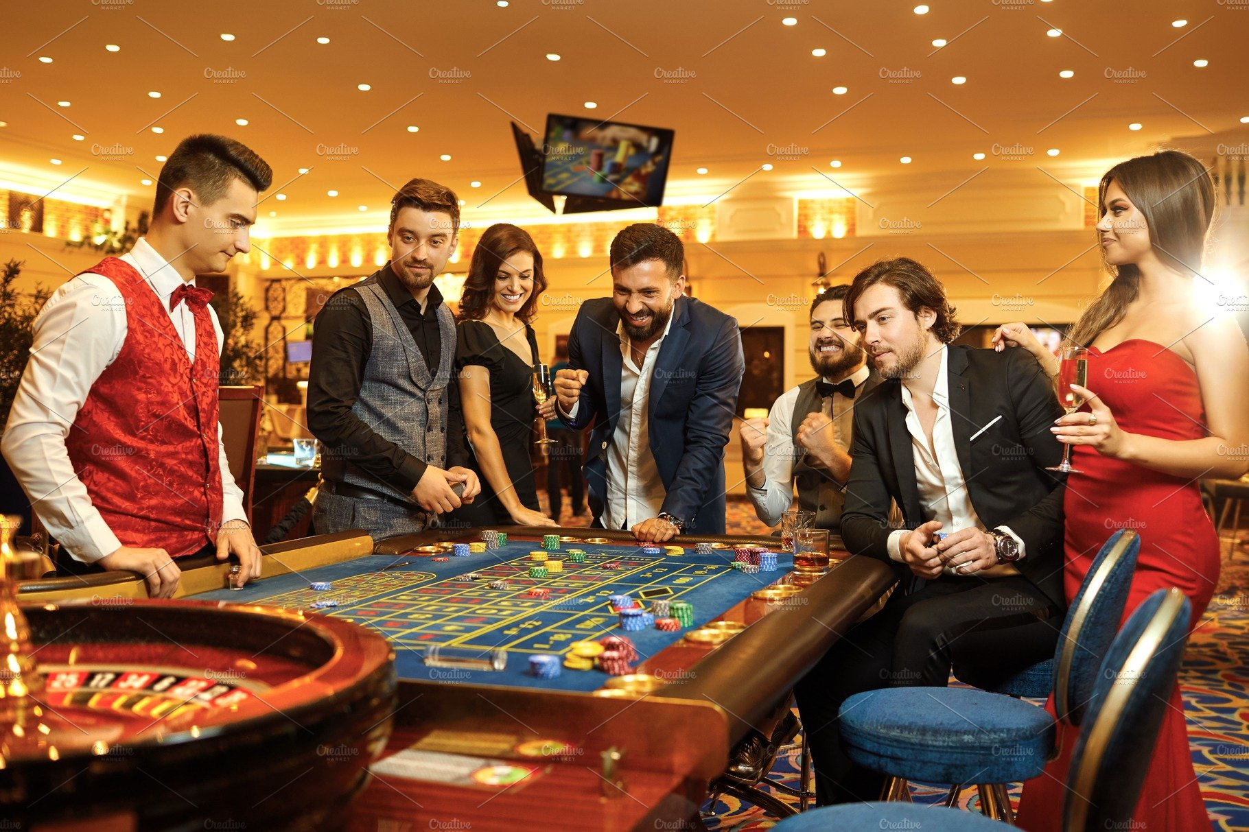 Group happy people make bets containing casino, friends, and roulette |  High-Quality People Images ~ Creative Market