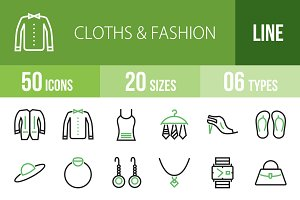 50 Clothes&Fashion Green&Black Icons