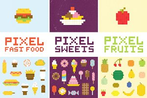 Big pixel art food set