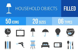 50 Household Objects Blue & Black