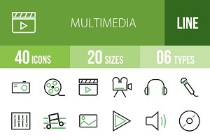40 Multimedia Green & Black Icons