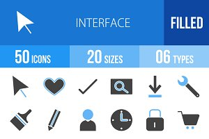 50 Interface Blue & Black Icons