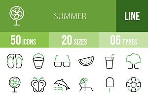 50 Summer Green & Black Icons