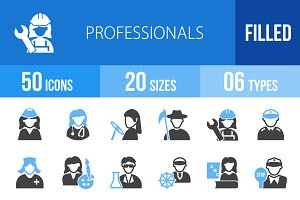 50 Professionals Blue & Black Icons