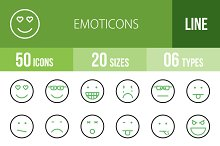 50 Emoticons Green & Black Icons