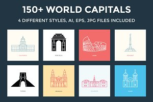 150+ World Capitals Illustration