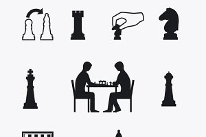 Playing chess icons