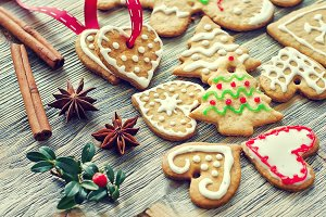 Vintage gingerbread christmas cookie