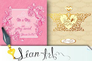 Set of 2 Wedding invitation cards.