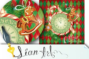 Holiday Christmas Card with watch