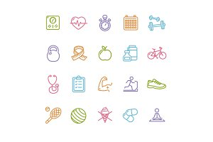 Fytness Health Outline Icon Set.