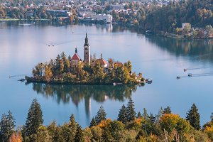 Lake Bled in autumn panorama