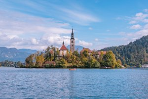 Lake Bled with the church in autumn
