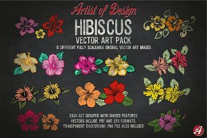 Vector Clip Art Hibiscus Flower Pack