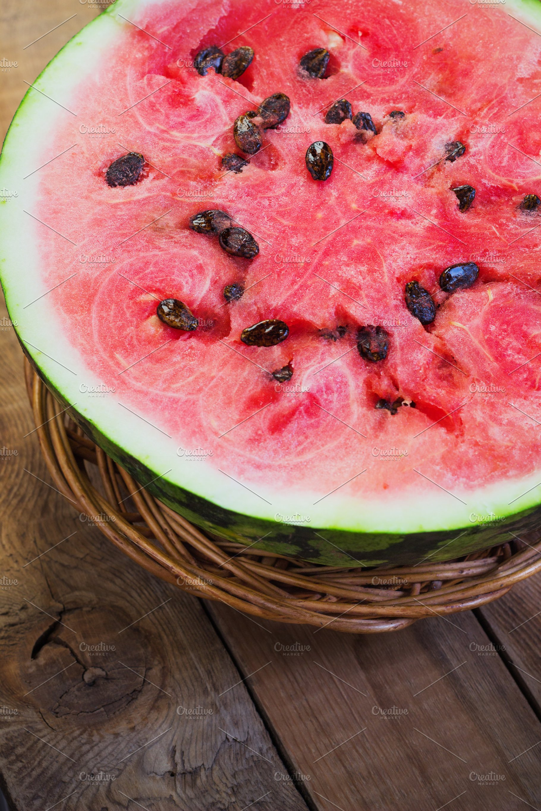 Cut In Half Watermelon On Old Wooden Table Red Ripe Fruit Wood