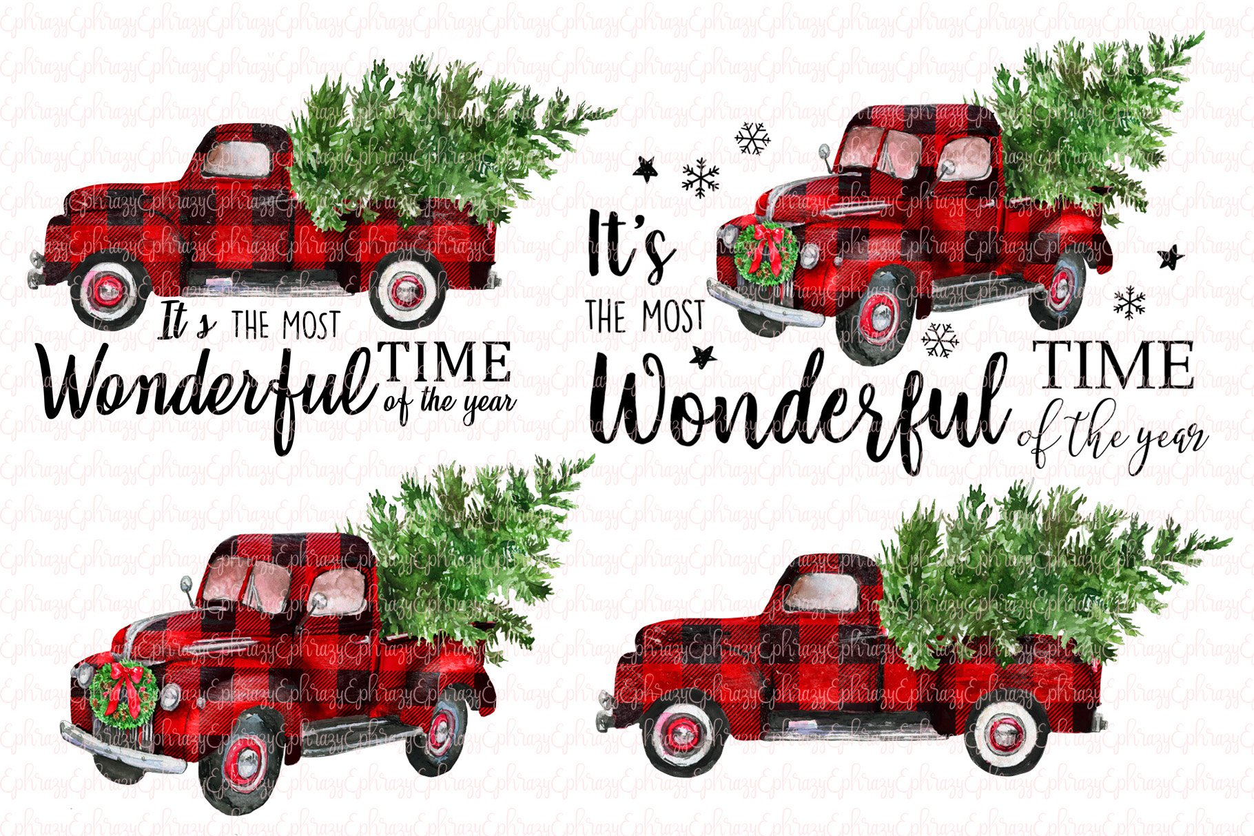 Plaid Christmas trucks.Clipart set | Custom-Designed ...