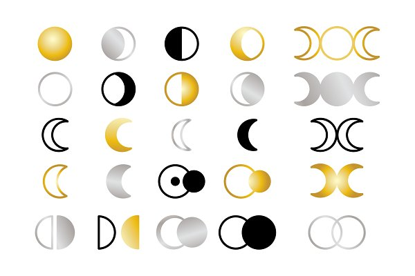 Moon Cycle Icons Clip Art Set