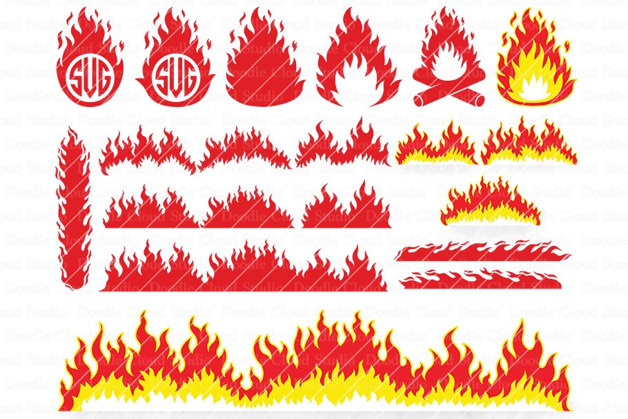 Fire Svg Flames Svg Flame Clipart Pre Designed Photoshop Graphics Creative Market
