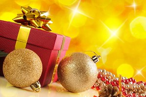 Yellow Christmas decoration diagonal