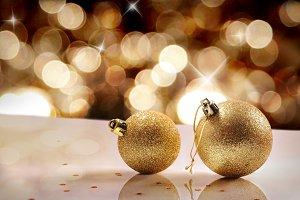 Christmas concept two golden balls