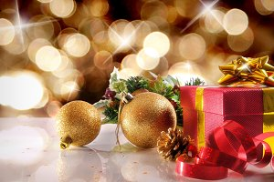 Gift, ball, decoration xmas golden