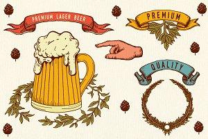 Set of vintage beer,labels