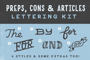 Preps, Cons, & Articles Lettering