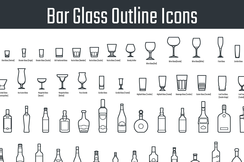 bar glass icons icons creative market. Black Bedroom Furniture Sets. Home Design Ideas