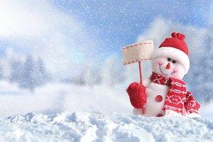 Snowman with a blank placard