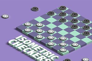 Isometric Checkers Mockup