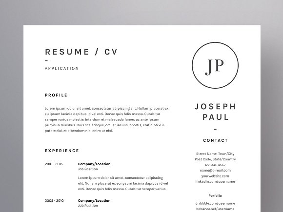 joseph paul resume cv template resume templates creative market