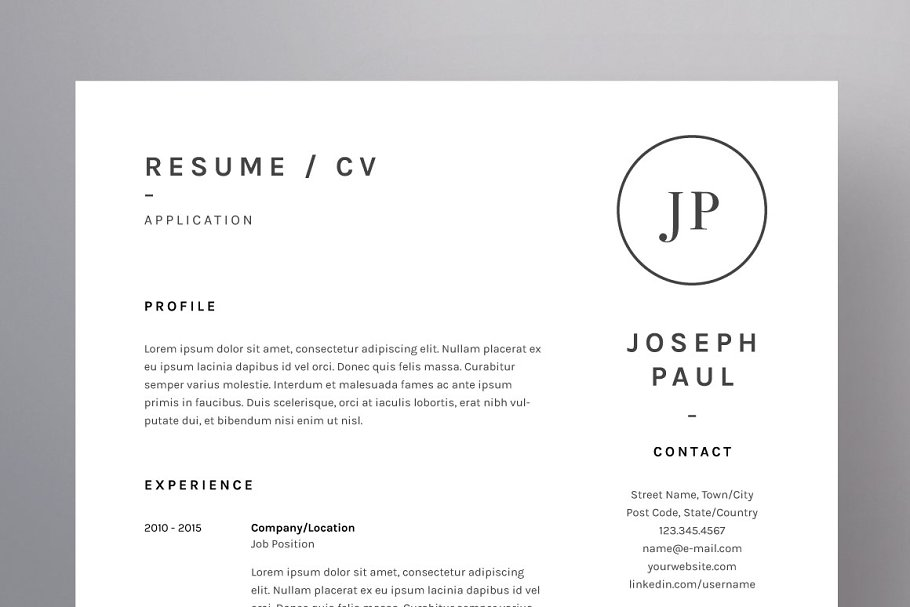Joseph Paul - Resume/CV Template ~ Resume Templates ~ Creative Market