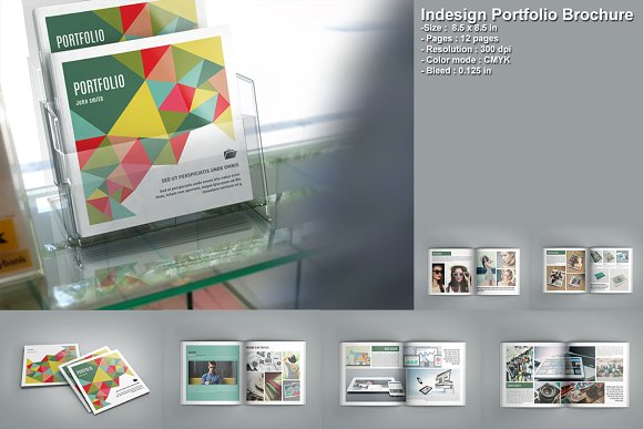 indesign portfolio brochure v207 brochure templates creative market. Black Bedroom Furniture Sets. Home Design Ideas