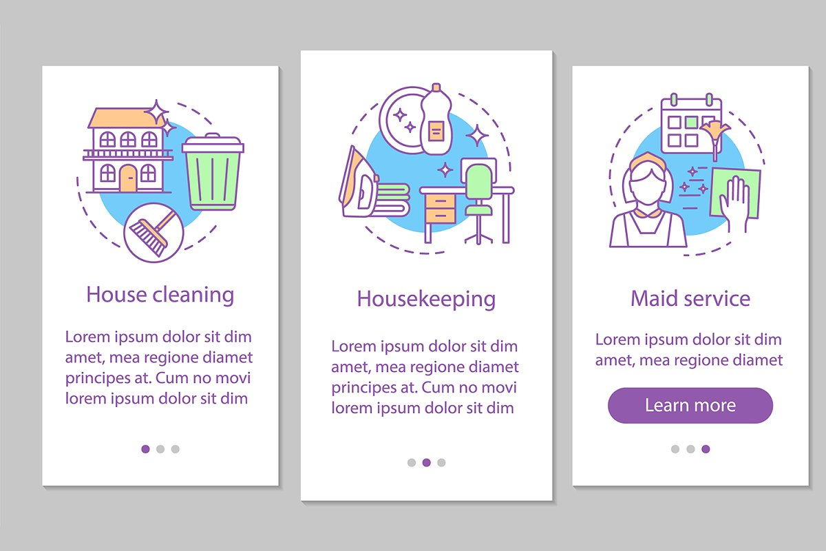 House service mobile app pages