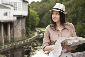 girl with tourist map