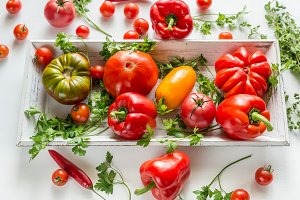 Fresh tomatoes and peppers