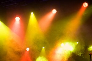 Red and yellow stage lights