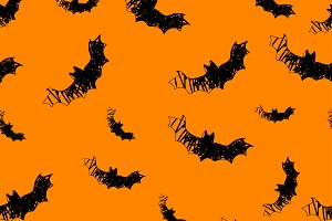 Halloween icons seamless of bat.