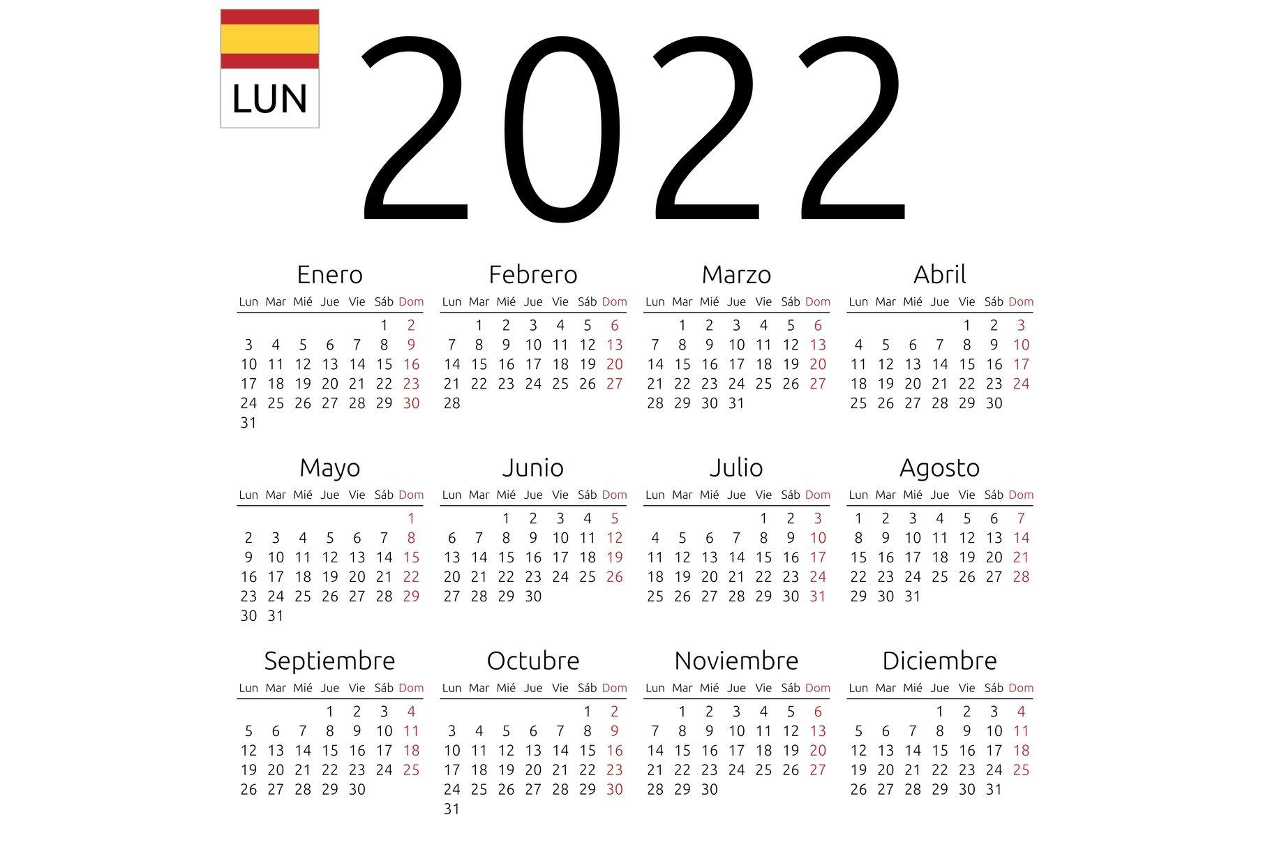 Ou Spring 2022 Calendar.Calendar 2022 Spanish Monday Creative Illustrator Templates Creative Market