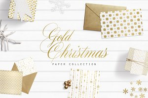 Gold Foil Christmas Digital Papers
