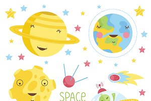 Cartoon illustration about space.