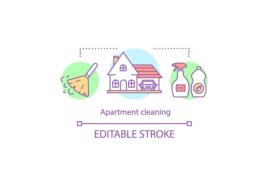 Apartment cleaning concept icon