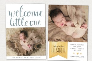 Birth Announcement PSD Card CB015