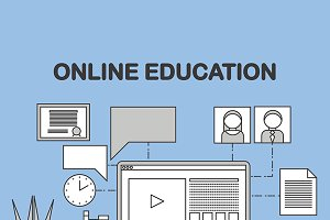 Linear illustration of e-learning