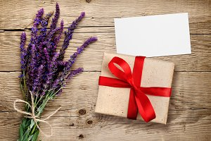 Flowers of salvia and gift box